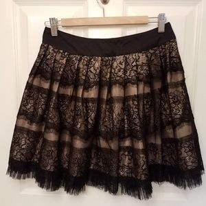 Forever 21 A-line black lace above knee skirt